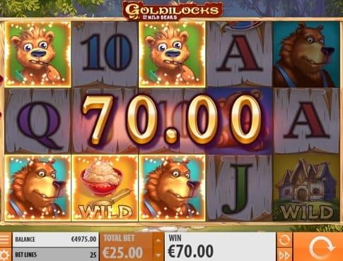 Комбинация с диким символом в игровом автомате Goldilocks